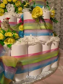 12 Level Baby, Girl's Bed Cake, 70 Cm, Baby Shower, Castle Bed Cake For A Princess Or Prince, Masterpiece, 100 Diapers Usable, All Colors