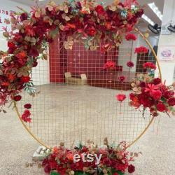1 1.5 2m High Golden White Metal Mesh Arch Circle For Flower Balloon Decoration Backdroment Party Birthday Wedding Cake Smash Background Props