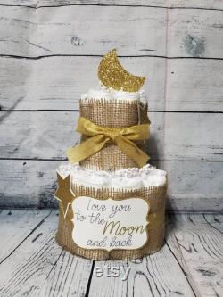 3 Tier Diaper Cake 3 Piece Set W 2 Levels Love You To The Moon And Back Theme Burlap And Gold Moon And Stars Baby Shower Centerpiece