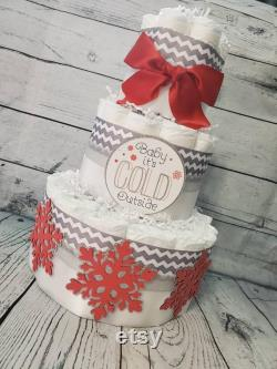 3tier Layers Cake 3 Pieces Set W 2 Levels Baby It S Cold Outside Theme Red And Silver Snowflakes Winter Theme Baby Shower