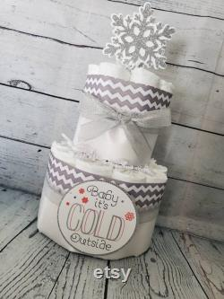 3tier Layers Cake 5 Pieces Together Baby It S Cold Outside Theme Silver Snowflakes Winter Theme Baby Shower