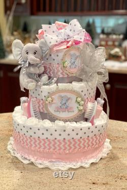 4 Third, Pink Elephant Diaper Cake For Baby Girl, Diaper Cake Centerpiece, Baby Girl Diaper Cake