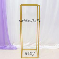 4pcs Set Rectangular Wedding Centerpieces Flowers Stands For Table Backdrop Stand Geometric Stand Decoration White Gold Black Frame