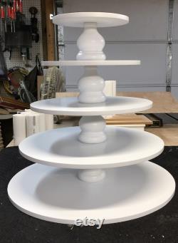 5 Levels Of Round Greater Custom-made Capacity Cupcake Stand With 1 2 Inch Thickness Levels And Spacers Tulip Style. No Base.
