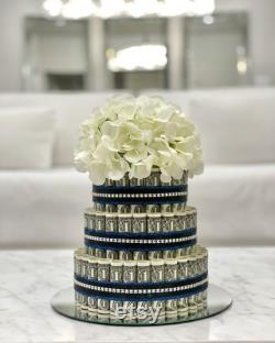 60 Dollar Money Cake 3 Tiered (glitter Blue And Black With Strass)
