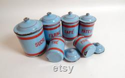 6 Fran Ais Vintage Enamel Boxes In Blue With Red Decoration