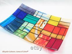 A Rectangular Tray Of Molten Glass A Mixture Of Soft Colors Decorative Plate Center Piece Shallow Plate