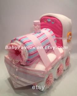 Adorable Train Diaper Cake For Boy Girl Neutral Baby Shower Centerpiece Or Gift For The New Baby