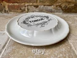 Ancient Edwardian Tin Tongue Plate Plat Or Butchers Display Tray From The Early 1900s