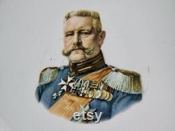 Ancient German Germany 1861 Hindenburg Metal Porcelain Plate Military Decor Gift For Him Gift For Collector Home Decor