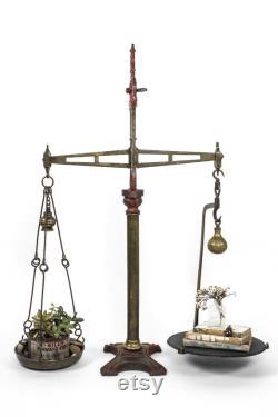 Antique Harp-top English Market Scale, 1880 1910 Birmingham England, Large Decorative Brass And Iron Scale