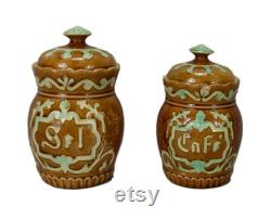 Antique Majolica Fran Ais Salt Cannon, Container Of Storage Varnished Pottery, Fives Lille Barbotine, Chalet Fran Ais, 19th Century