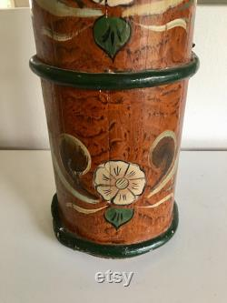 Antique Norwegian Butter Churn With Hand-painted Rosemaling Design, Norwegian Folk Art