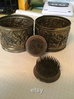 Antique Wool Combs With Adorned Boxes