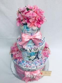 April In Paris Baby Diaper Cake Shower Gift Or Centerpiece
