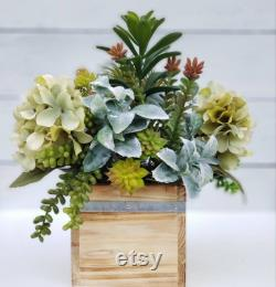 Artificial Succulents And Hydrands, False Wood Box Succulents, Green Hydrangeas And Succulent Masterpiece
