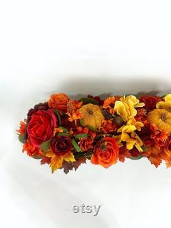 Autumn Pumpkin Masterpiece, Autumn Table Masterpiece, Velvet Pumpkin, Pumpkin Table Decoration, Thanksgiving Table Masterpiece, Autumn Table Runner
