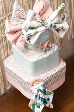 Baby Diaper Floral Cake 3-level Square-layer Girl Or Shower Masterpiece-bouquets-library Expedition