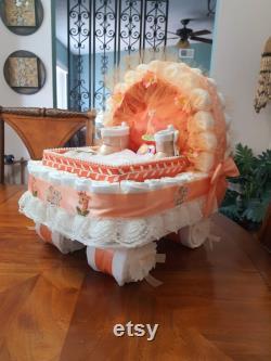 Baby Gift Basket Sleeve Cake Orange Peach Wedding Bassinet Stroller Baby Shower