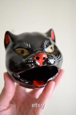 Bad Kitties Vintage 1950s Black Ceramic Shafford Cat Coffee Tea Cruet Set Decanter MID Century Modern, Vintage Kitchen, Cat Lady