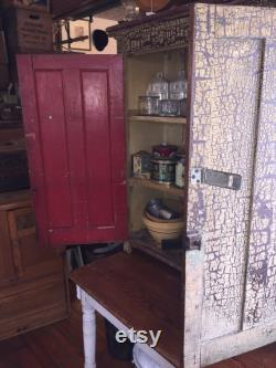 Beautiful Antique Cabinet Hoosier And Table, Lots Of Storage, Original Painting