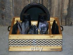 Black Jute Canvas Chevron Ribbon Crockery Utensile Caddy Organizer For Table Towels, Plates, Utensils And More. Ideal For Any Party.