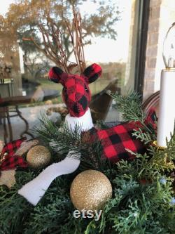 Buffalo Plaid Reindeer Center Piece