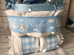 Cackle Layer Cake For A New Baby Boy On Cigogne Buggy Diaper Cake Baby Shower Masterpiece Cackle Cart Stroller Gift With Nod Butterfly For Baby