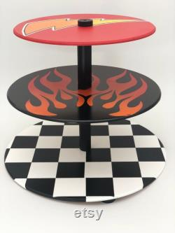Cars Cupcake Stand Nascar Cupcake Stand Race Car Cake Stand Hand Painted