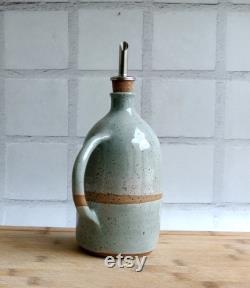 Ceramic Dispenser, Bottle Of Olive Oil And Vinegar, Gift Of Handcrafted Pottery Cruet Rack.