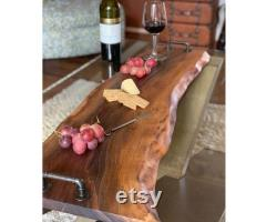 Charcuterie Board, Living Edge Wood Cutting Board, Rustic Farm, Kitchen Decor, Wooden Cheese Board, Wooden Service Board With Handles, New House
