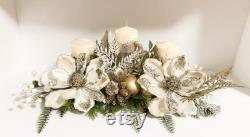 Christmas Centerpiece, Christmas Floral Arrangement, Christmas Magnolias, Large Centerpiece, Christmas Decoration, White Floral Centerpiece,