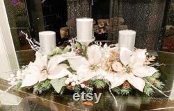 Christmas Centerpiece, White Centerpiece, Designer Centerpiece, Christmas Décor, Poinsettia Centerpiece, White Poinsettias, Christmas Candle
