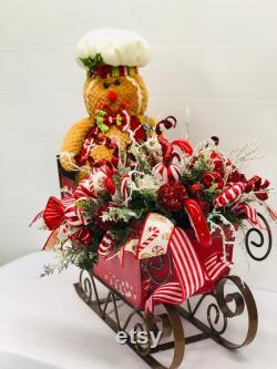 Christmas-table Centerpiece-christmas Sleigh Centerpiece-christmas Arrangement-fancy Gingerbread-center Centerpiece