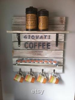 Coffee Mug Holder Coffee Sign Custom With Last Name Storage For Coffee Bar Coffee Mug Storage