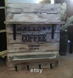Coffee Teach, Coffee Bar, Coffee Bar Decor, Coffee Bar Shelf, Coffee Decor, Coffee Cup Holder, Custom Coffee Bar