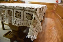 Covered Tablecloth Handmade Crochet Made Hand Made Tablecloth Rare