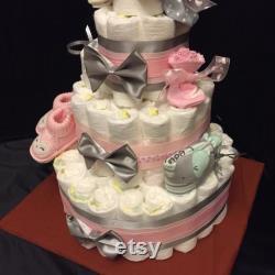 Custom Diaper Cakes. Unique Bespoke 4-level Diaper Cakes With Decorations.