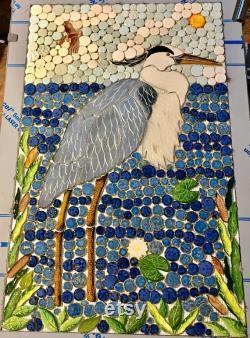 Diy 32x20 Custom Mosaic Blue Heron Back Splash Or Shower Insert.
