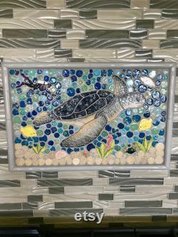 Diy Custom Mosaic Sea Turtle Indigo Back Splash Or Shower Insert.