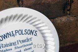Edwardian English Royal Doulton White Ironstone Shortbread Mold, Brown Polson Paisley Flour Advertising, Black Transfer Print