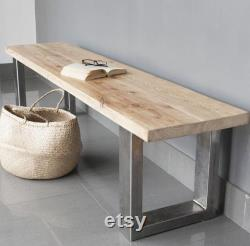 Entry Bench Industrial Bench, Industrial Furniture, Handmade, Entrance Bench, Salvage Wood, Wooden Bench, Bench With Steel Feet, Metal Legs
