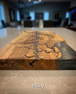 Epoxy Live Edge Fracture Burnt Serving Board Charcuterie Board