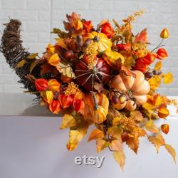Fall Size Grace Horn Centerpiece With Pumpkins, Gourdes, Chinese Lanterns Size 3 Options
