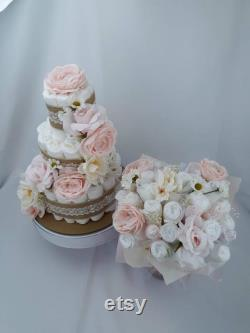 Floral Cake Matching Diaper And Bouquet Of Layers Pink Cake Diaper Masterpiece Baby Shower Diaper Cake Girl Combo Flower Diaper Cake