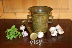 Former Heavy Mortar And Huge Pestle 11 Pounds From The 1900s Brass Estonia Ancient Mortar And Massive Mortar Pestle Ancient Kitchen Pilon