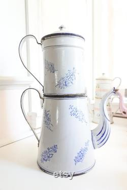 Fran Ais Biggin Enamel Coffee Pot With Warmer, 1880's, Christmas Gift