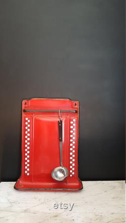 Fran Ais Rack Kitchen Utensil In Vintage Enamel. Red And White Control Model.