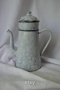 Fran Ais Vintage Enamelware Coffee Pot With LID And Marble Effect Of Grain Container