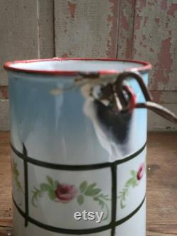 Fran Ais Vintage European Bucket With Enamelled Milk With Hand Painted Design